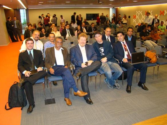 Conselheiros na reunião com representantes da Anatel